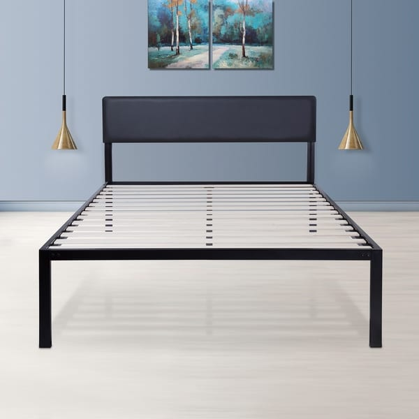 Shop Sleeplanner 18-inch Queen-Size Metal Bed Frame with Faux ...