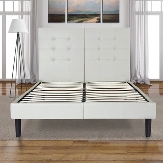 Sleeplanner 14-inch Queen-Size Dura Metal Bed Frame with White Button Faux Leather Headboard