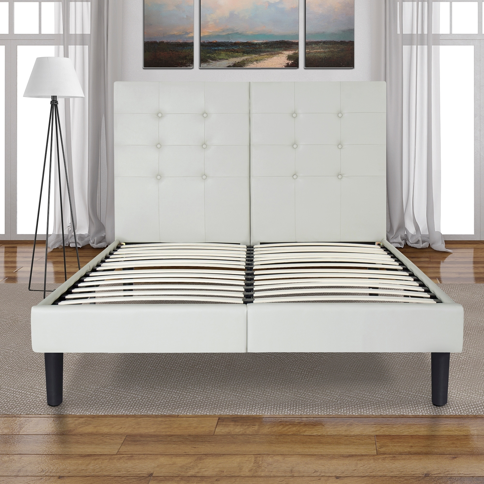 online retailer 36163 a5f66 Sleeplanner 14-inch Queen-Size Upholstered Bed Frame with Grey Button Faux  Leather Headboard