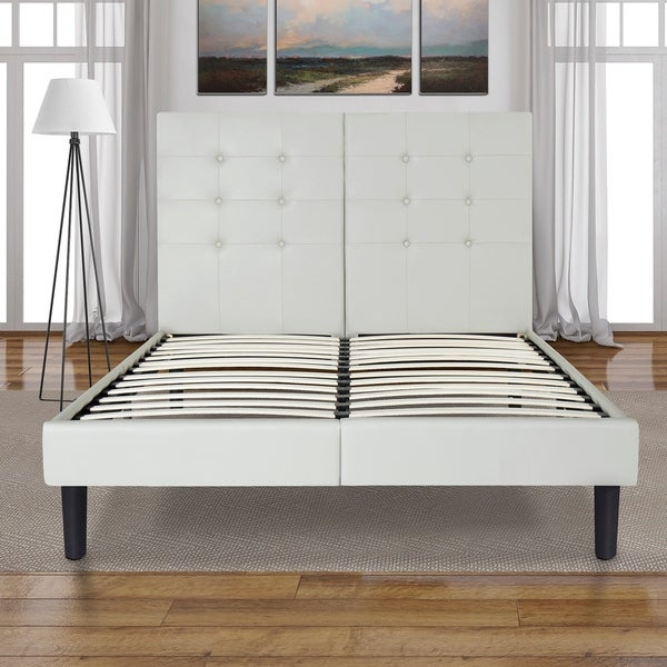 Sleeplanner 14-inch Queen-Size Upholstered Bed Frame with Grey Button Faux Leather Headboard