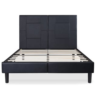 Sleeplanner 14-inch Queen-Size Dura Metal Bed Frame with Black Oblong Faux Leather Headboard