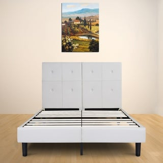 sleeplanner 14inch fullsize dura metal bed frame with light gray button faux