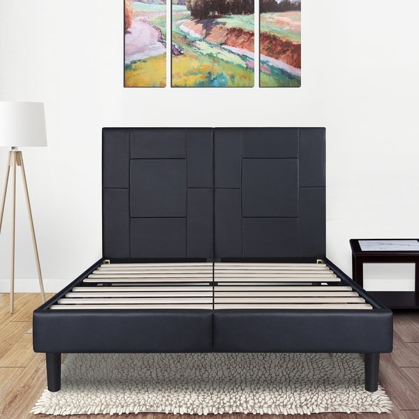 Sleeplanner 14-inch King-Size Dura Metal Bed Frame with Black Oblong Faux Leather Headboard