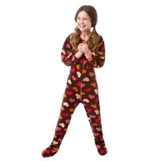 Big Feet Pjs Kids Footed Sleeper Chocolate Brown with Hearts Footed Pajamas