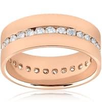 Bliss 14k Rose Gold 1 1/10 ct TDW Diamond Mens High Polished Eternity Comfort Fit Wedding Ring - White