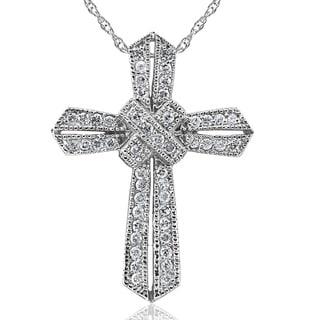 Bliss 14k White Gold 1/2 ct TDW Diamond Cross Vintage Antique Pendant Religious Necklace