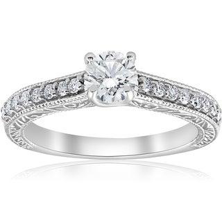 Bliss 14k White Gold 3/4ct TDW Diamond Vintage Antique Engagement Round Cut Ring