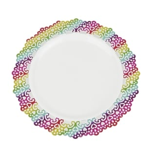 "Elegant Plastic 9"" Inch Round Dinner Plate Colored Lace Rim (12 pack)"