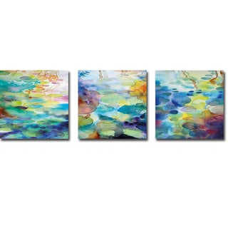 Oranamental Pond I, II, & III by Helen Wells 3-piece Gallery-Wrapped Canvas Giclee Art Set