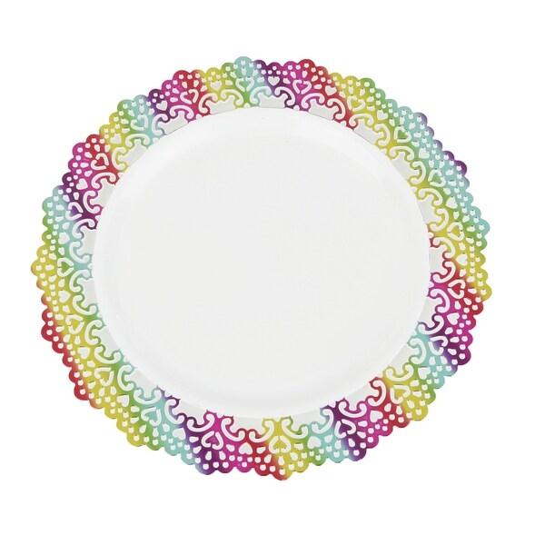 "Elegant Plastic 7.5"" Inch Appetizer/Dessert/Salad Round Plate Colored Lace Rim (24 pack)"