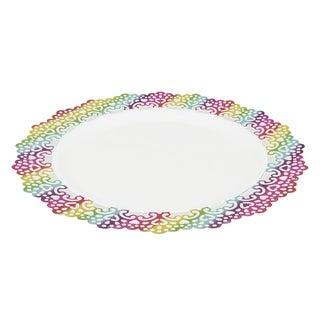"""Elegant Plastic 6"""" Inch Round Dinner Plate Colored Lace Rim (12 pack)"""