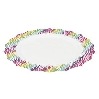 "Elegant Plastic 6"" Inch Appetizer/Dessert/Salad Round Plate Colored Lace Rim (24 pack)"