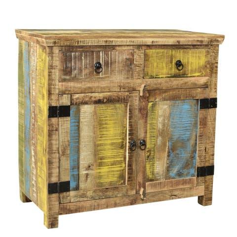 """Handmade Suman Solid Mango Wood 2 Door Sideboard (India) - 34"""" x 18"""" x 36"""""""