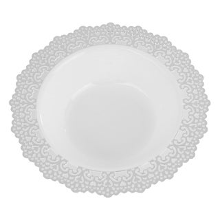 "Elegant Plastic White Bowl, Silver Lace Trim, 7.5"" Inch, 12 Pack, 12oz"