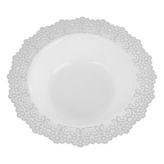"""Elegant Plastic White Soup/Salad Bowl Plates Silver Lace Trim, 7.5"""" Inch, 12 oz (24 Pack)"""