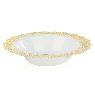 "Elegant Plastic White Bowl, Gold Lace Trim, 7.5"" Inch, 12 Pack, 12oz"