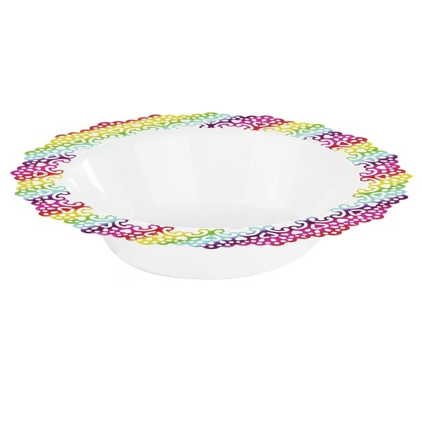 "Elegant Plastic White Bowl, Colorful Lace Trim, 7.5"" Inch (12 Pack)"