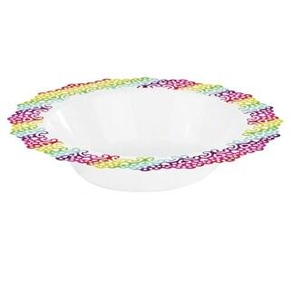 "Elegant Plastic White Bowl, Colorful Lace Trim, 7.5"" Inch (12 Pack)"