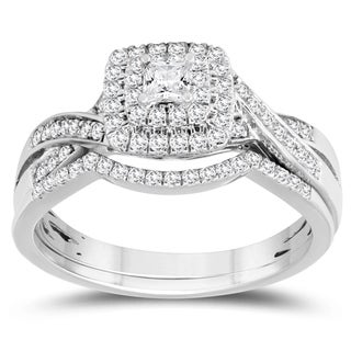 1/2 Carat TW Princess Center Diamond Engagement Ring and Wedding Band Bridal Set in 10K White Gold