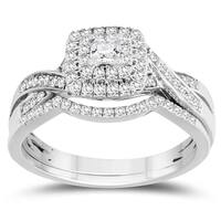 1/2 Carat TW Princess Center Diamond Engagement Ring and Wedding Band Bridal Set in 10K White Gold