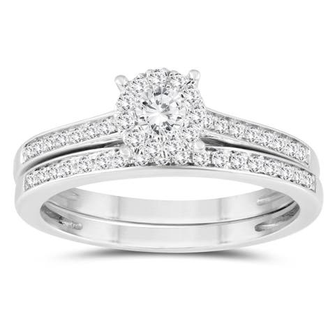 1/2 Carat TW Diamond Engagement Ring and Wedding Band Bridal Set in 10K White Gold