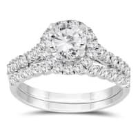 1 1/3 Carat TW Diamond Engagement Ring and Wedding Band Bridal Set in 10K White Gold