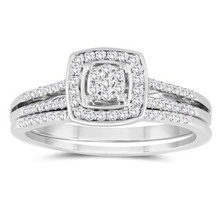 1/3 Carat TW Diamond Engagement Ring and Wedding Band Bridal Set in 10K White Gold