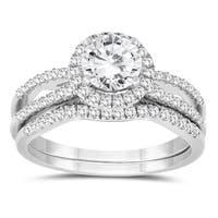 1 1/4 Carat TW Diamond Engagement Ring and Wedding Band Bridal Set in 10K White Gold