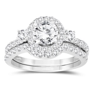 1 1/2 Carat TW Diamond Engagement Ring and Wedding Band Bridal Set in 10K White Gold