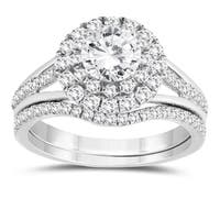 1 1/3 Carat TW Diamond Engagement Ring and Wedding Band Bridal Set in 10K White Gold