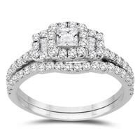 1 Carat TW Princess Diamond Engagement Ring and Wedding Band Bridal Set in 10K White Gold