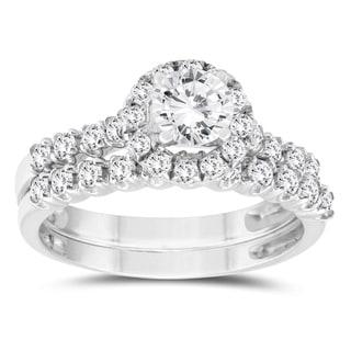 1 1/5 Carat TW Diamond Engagement Ring and Wedding Band Bridal Set in 10K White Gold