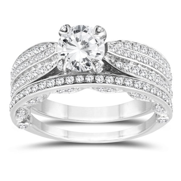 2926caa12c5cd 1 5 8 Carat TW Diamond Engagement Ring and Wedding Band Bridal Set in 10K
