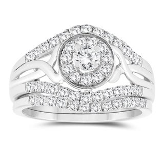 1 Carat TW Diamond Bridal Set in 10K White Gold
