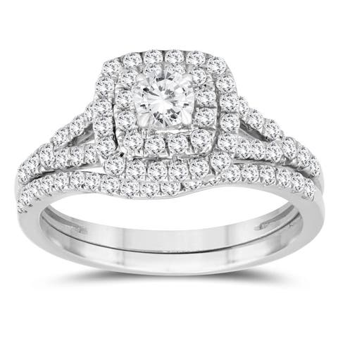 1 1/5 Carat TW Diamond Halo Engagement Ring and Wedding Band Bridal Set in 10K White Gold