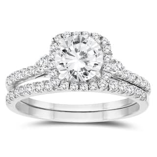 1 1/5 Carat TW Diamond Engagement Ring and Wedding Band Bridal Set in 10K White Gold|https://ak1.ostkcdn.com/images/products/18040854/P24206634.jpg?impolicy=medium