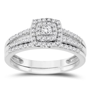 1 2 Carat TW Diamond Engagement Ring And Wedding Band Bridal Set In 10K White Gold