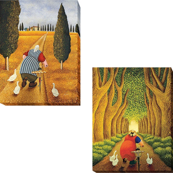 Lady with Fresh Bread and Home from the Market by Lowell Herrero 2-piece Gallery-Wrapped Canvas Giclee Art Set