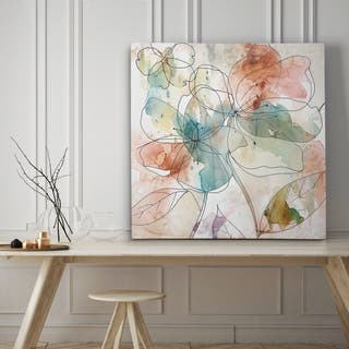 Floral Flow II - Premium Gallery Wrapped Canvas - 4 Sizes Available - Blue/Red