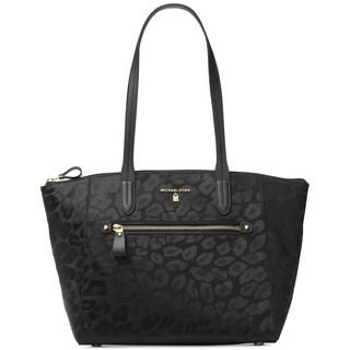 Michael Kors Kelsey Black Signature Top-Zip Medium Tote Bag