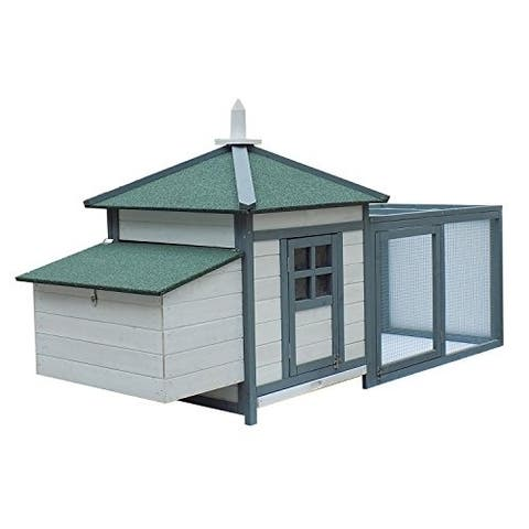 "PawHut 77"" Wooden Weatherproof Backyard Chicken Coop Kit With 2-Part Nesting Box And Run"