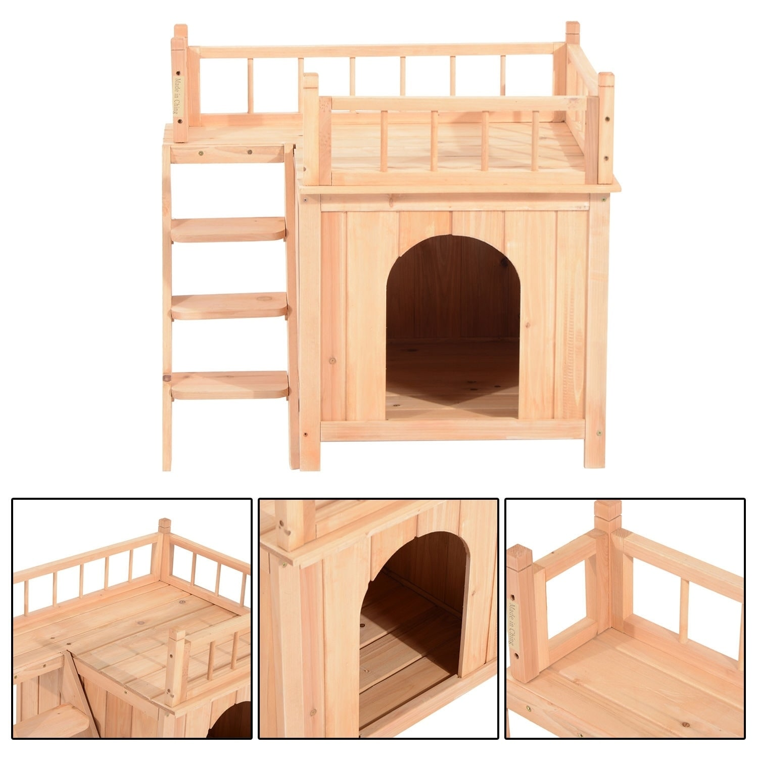 Aosom Pawhut Two Story Indoor and Outdoor Wood Cat House ...
