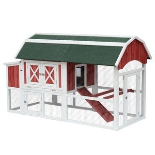 Pawhut Barn Style Deluxe Chicken Coop with Run and Nesting Box
