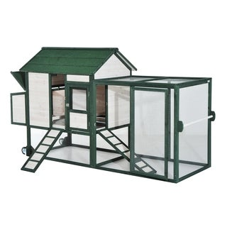 Pawhut Wooden Chicken Coop with Run and Nesting Box