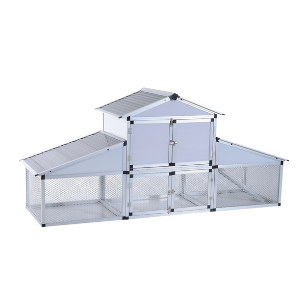 Shop Pawhut Metal Chicken Coop with Nesting Box and Outdoor Run ...