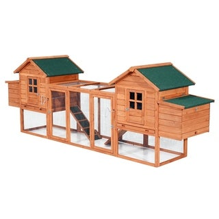 Pawhut Wooden Chicken Coop with Nesting Box and Outdoor Run