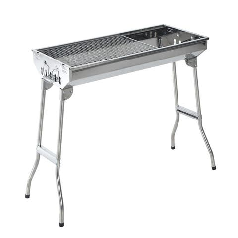 "Outsunny 28"" Stainless Steel Portable Folding Charcoal BBQ Grill"