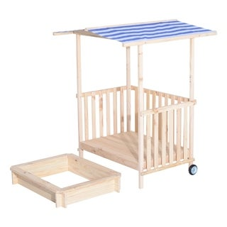 Qaba Wooden Framed Sandbox with Outdoor Balcony and Canopy