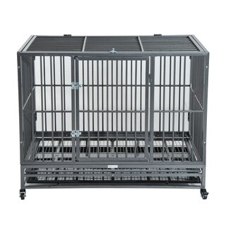 Pawhut Heavy Duty Steel Dog Crate Kennel Pet Cage with Wheels