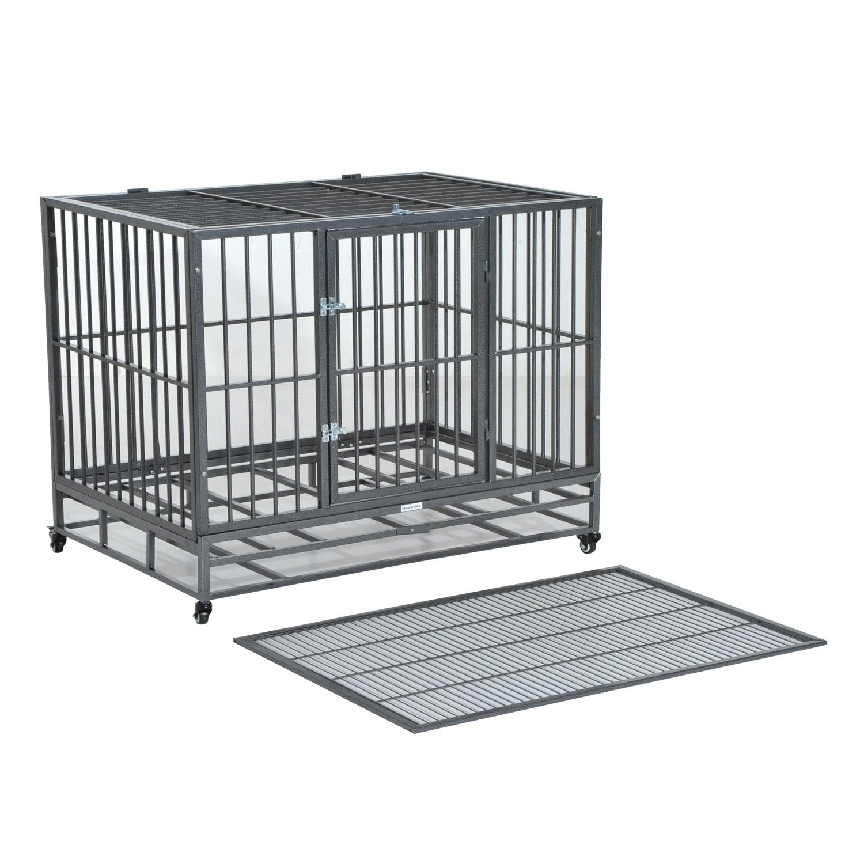 Aosom Pawhut Heavy Duty Steel Dog Crate Kennel Pet Cage w...